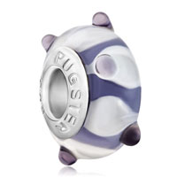 Murano Glass Jewelry - amethyst purple petals against dots fits murano glass beads charms bracelets fit all brands Image.