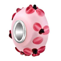 Charms Beads - pink flower lampwork silver murano glass beads charms bracelets fit all brands Image.
