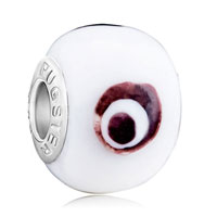 Charms Beads - evil eye white circle fit murano glass beads charms bracelets all brands Image.