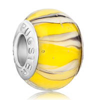 Charms Beads - yellow white lampwork silver murano glass beads charms bracelets fit all brands Image.