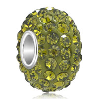 Sterling Silver Jewelry - birthstone charms 925 sterling silver element crystal peridot green beads charm bracelets Image.