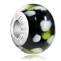 Charms Beads - mothers day gifts classic black white flowers fits murano glass beads charms bracelets fit all brands Image.