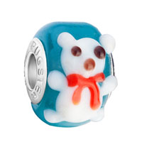 Charms Beads - white teddy bear heart forever love lover animal aquamarine blue fits murano glass beads charms bracelets fit all brands Image.