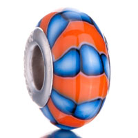 Charms Beads - orange pale blue stripe polymer clay fit &  murano glass beads charms bracelets all brands Image.