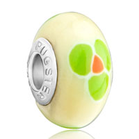 Charms Beads - pale green clover fits beads charms bracelets fit all brands Image.