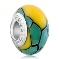 Charms Beads - yellow stones blue stripes fits murano glass beads charms bracelets fit all brands Image.