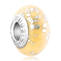 Charms Beads - white spots against cream coloured fits murano glass beads charms bracelets fit all brands Image.
