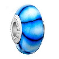 Charms Beads - pale blue black stripes murano glass beads charms bracelets fit all brands Image.