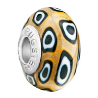 Charms Beads - yellow white black rounds against brown fits beads charms bracelets fit all brands Image.