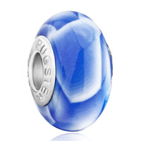 Charms Beads - white pale blue irregular shapes fits murano glass beads charms bracelets fit all brands Image.