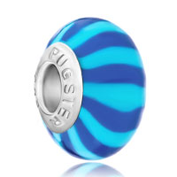 Charms Beads - bule pale blue stripes fits murano glass beads charms bracelets fit all brands Image.