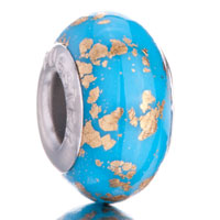 Charms Beads - gold spots blue lampwork murano glass beads charms bracelets fit all brands Image.