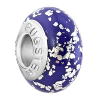 Charms Beads - silver metallic glitter amethyst purple polymer clay fit all brands murano glass beads charms bracelets Image.