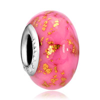 Charms Beads - october pink lampwork murano glass beads charms bracelets fit all brands Image.