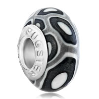 Charms Beads - black white round dotted lampwork silver murano glass beads charms bracelets fit all brands Image.
