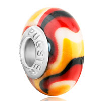 Charms Beads - red black white yellow stripe polymer clay fit &  murano glass beads charms bracelets all brands Image.