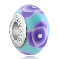 Charms Beads - blue flower murano glass beads charms bracelets fit all brands Image.