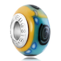 Charms Beads - black whirlpool blue dots pale green yellow polymer clay fit &  beads charms bracelets all brands Image.