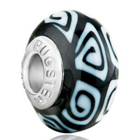 Charms Beads - white black irregular polymer clay fit &  murano glass beads charms bracelets all brands Image.