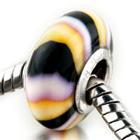 Handmade Yellow Black White Stripes Polymer Clay Murano Glass Beads Charms Bracelets Fit All Brands