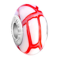 Murano Glass Jewelry - white red stripes fits murano glass beads charms bracelets fit all brands Image.