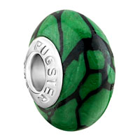 Charms Beads - black stripes against green fits murano glass beads charms bracelets fit all brands Image.