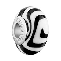 Charms Beads - black white zebra stripes polymer clay murano glass beads charms bracelets fit all brands Image.
