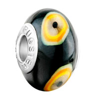 Charms Beads - white orange yellow evil eyes black polymer clay fit all brands murano glass beads charms bracelets Image.
