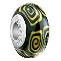 Charms Beads - yellow black whirlpool fits beads charms bracelets fit all brands Image.