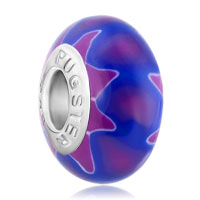 Charms Beads - navy blue amethyst petal flower fits murano glass beads charms bracelets fit all brands Image.