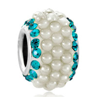 Charms Beads - march aquamarine blue crystal clear white pearls silver murano glass beads charms bracelets fit all brands Image.