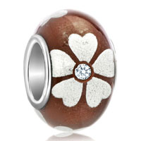 Murano Glass Jewelry - diamond accent silver lucky clover chocolate brown flower fit all brands murano glass beads charms bracelets Image.