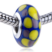 Charms Beads - yellow and purple dots slim fit murano glass beads charms bracelets all brands Image.