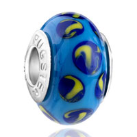 Charms Beads - mothers day gifts dark blue and yellow slim fit murano glass beads charms bracelets all brands Image.