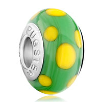 Charms Beads - murano glass egg yellow dotted green slim fit beads charms bracelets all brands Image.
