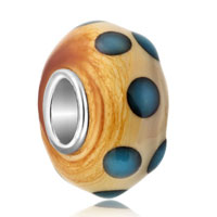 Charms Beads - flesh color blue dot murano glass beads charms bracelets fit all brands Image.