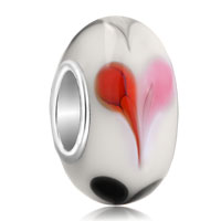 Charms Beads - lover white red black heart murano glass beads charms bracelets fit all brands Image.