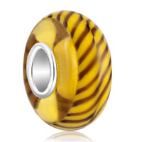 Charms Beads - tan brown stripes fit murano glass beads charms bracelets all brands Image.