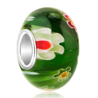 Charms Beads - orange and green flower fit murano glass beads charms bracelets all brands Image.