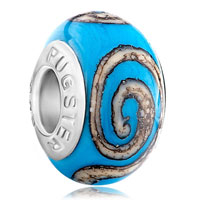 Charms Beads - blue brown circle fits murano glass beads charms bracelets fit all brands Image.