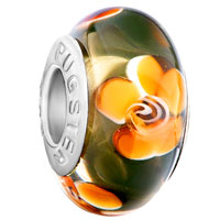 Charms Beads - brown big yellow flower murano glass brands fits beads charms bracelets fit all Image.
