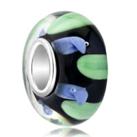 Charms Beads - blue green zigzag translucent murano glass beads charms bracelets fit all brands Image.