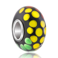 Charms Beads - green yellow orange spots spiral dotted murano glass beads charms bracelets fit all brands Image.