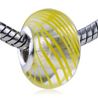 Charms Beads - murano glass yellow parallel lines translucent fit beads charms bracelets all brands Image.