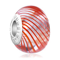 Charms Beads - murano glass orange parallel ray translucent fit beads charms bracelets all brands Image.