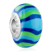 Charms Beads - blue green stripes fits murano glass beads charms bracelets fit all brands Image.