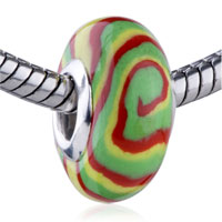 Charms Beads - green yellow red swirl fits beads charms bracelets fit all brands Image.