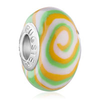 Charms Beads - white green orange swirl fits murano glass beads charms bracelets fit all brands Image.