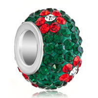 Charms Beads - silver plated red flower rhinestone emerald green ball murano glass beads charms bracelets fit all brands Image.