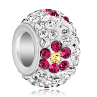 Charms Beads - silver plated purple flower rhinestone clear white ball murano glass beads charms bracelets fit all brands Image.